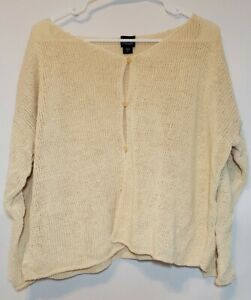 EILEEN FISHER Knit Cardigan 3/4 Sleeve Button Down Ivory Color Large