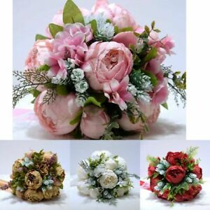Bridal Bouquet Artificial Roses Wedding Bridesmaids For Bride Flowers Marriage