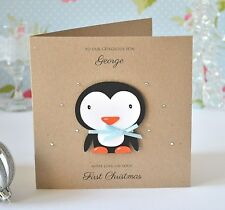 Personalised Baby's First Christmas Card Penguin Boy son grandson nephew