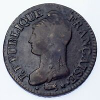 LAN 5 (1796-97) France 5 Centimes Coin (VF) Very Fine KM# 640.5