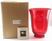 NIB Longaberger Red Glass Hurricane Shade Etched 71303 In Original Box Beautiful