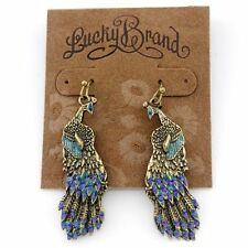 LUCKY BRAND GOLD TONE DOUBLE SIDES COLORFUL PEACOCK EARRINGS