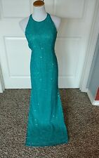 Scala Turquoise Beaded Evening Dress Size Medium
