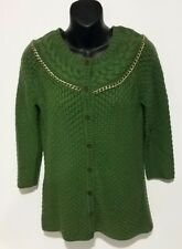 WOMENS LIZ CLAIBORNE GREEN KNIT BUTTON FRONT CARDIGAN SWEATER W/CHAIN DETAIL XS