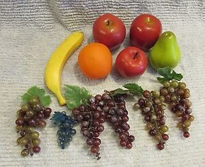 12 Life Size Plastic Fruit Grapes Bunches Apples Orange Banana Pear FREE S/H