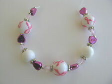 16, Pink Ribbon Fight for Cure Round and Heart Glass Beads 12mm New