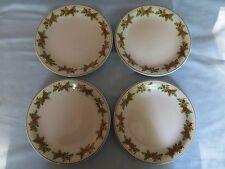"Schmidt Brazil Porcelain Christmas Holly Berries Set of 4 Salad Plates 7 1/2"" EC"