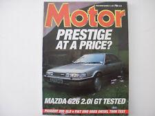 MOTOR 1987.Mazda 626 GT.R/T.Fiat Uno 60 vs Peugeot 205 GLD.Mansell    Adverts