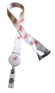 Flamingo Bird Print Safari Badge Reel Lanyard with Safety Breakaway