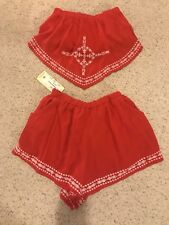 Elan Brand Red Boho Shorts Size Medium and Bandau Scarf Top Size Small