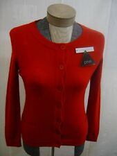 PRIVE 2Ply 100% Cashmere Women's Sweater Small S Cardigan Button Long sleeve Red