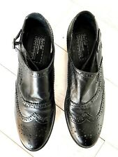BNWOB BERTIE BLACK LEATHER SLIP ON BUCKLE BROGUE SHOES SIZE 39 /5.5/6 UK