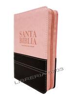 BIBLIA REINA VALERA 1960 TAMAÑO BOLSILLO BICOLOR ROSA CON MARRON CIERRE E INDICE