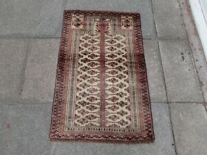 Vintage Hand Made Traditional Oriental Wool Red Brown Small Prayer Rug 117x75cm