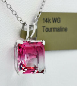 GEMSTONE 3.32 Cts TOURMALINE SOLITAIRE PENDANT 14k GOLD * New With Tag *