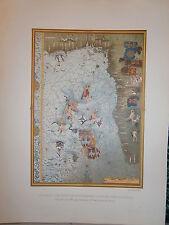 Gravure 19°  Carte cote sud Ouest de l'Afrique par Testu pilote du Havre