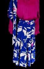 Argenti SZ 6 VTG 100% Silk vivid blue floral skirt w/scarf career brunch casual