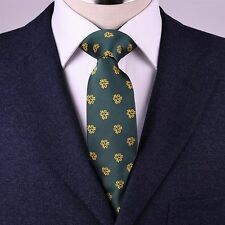 Unique Emerald Green With Goose Yellow Firenze Floral Emblems Collective 8CM Tie