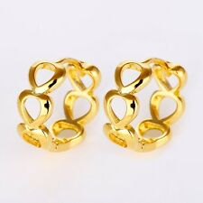 New Women Heart Earrings 18k Yellow Gold Filled 15mm Hoop Lovely Charms Jewelry