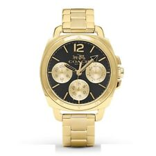 NWT Coach Womens Watch All Gold Bracelet & Black Dial BOYFRIEND $275 14502173
