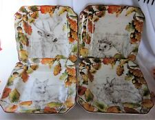 222 FIFTH BIRKHILL MANOR ORANGE SALAD PLATES THANKSGIVING PUMPKIN DEER FOX SET 4