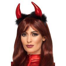 Red Metallic Devil Horns Headband with Black Feathers Pk 1