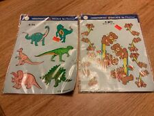 1989 Decoral Handpainted Waterslide Decals Teddy Bears Dinosaurs New Old Stock