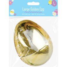 10cm Large Plastic Golden Easter Filler Eggs Storage Fun Party Trail Hunt Bonnet