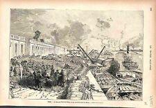 Quai de Bercy Pont de Tolbiac Paris France GRAVURE ANTIQUE PRINT 1883