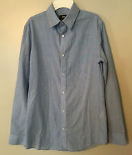 H&M Slim-Fit Easy Iron Shirt Solid Blue Button Up Down Long Sleeve Size Small S