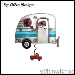 Quirky HAPPY CAMPERS Retro Caravan Hand Painted Pendulum Wall Clock Allen Design