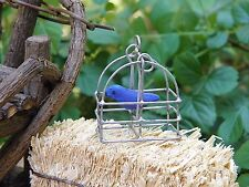 Miniature Dollhouse FAIRY GARDEN ~ TINY Hanging Bird Cage with Blue Bird ~ NEW