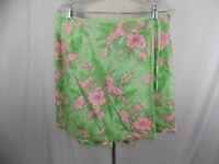 SAG HARBOR WOMENS SKIRT SKORT SHORTS Lime Green Pink Floral SIZE 12
