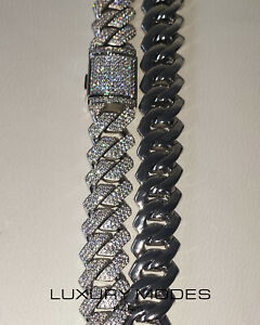 CHAIN MIAMI HIP HOP STREETWEAR REAL ZIRCON IN BRASS 19MM 20INCH - NEW CONDITION