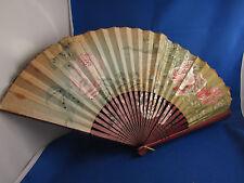 ancien eventail fan abanico ventaglio en bois & papier peint decor fleur rose