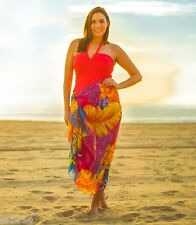 Plus Size Bright Hawaiian Sarong Pareo Beach Wrap Cover-Up