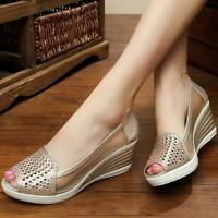 Summer new Breathable Womens Wedge Heel Hollow Out Peep Toe Slip On sandal Shoes