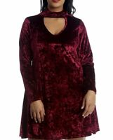 New Plus Size Ladies V-Neck Long Sleeve Choker Crushed Velvet Xmas Party Dress