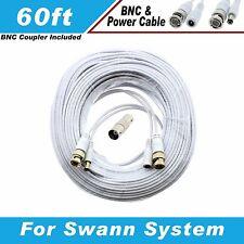 WHITE PREMIUM 60FT CCTV SURVEILLANCE CABLES FOR 16 CH SWANN SYSTEMS D1 DVR
