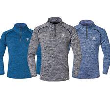 Men Mock Neck Shirt Slim Fit Long Sleeve 1/4 Zip Up Pullover Running Top Holiday