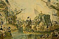 Antique General George Washington New York Dock Harbor Seascape Color Lithograph
