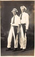 Real Photo Postcard Two Men Wearing Galion Ohio Pennants in Photo Studio~112209