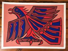 Vintage Victor Delfin 1979 Red Inca Condor Signed Numbered Serigraph Art Print