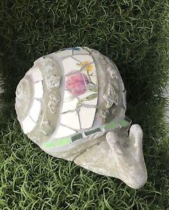 Mosaic Snail Ceramic Statue garden ornament ~Dragon Fly feature ~ Home Decor