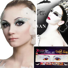 White Swan Eye Mask Costume Sticker Rhinestone Glitter Crystals Easy Makeup Set