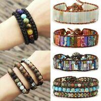 Women 7 Chakra Bracelet Natural Stone Tube Beads Leather Wrap Bangle Jewellery