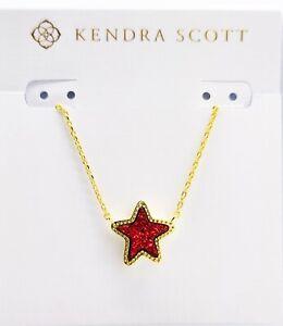 NEW 100% KENDRA SCOTT Gold Sparkling Bright Red Drusy Jae Star Pendant Necklace