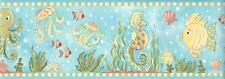 Wallpaper Border Sea Horse Octopus Starfish Jellyfish Green Coral Yellow Aqua