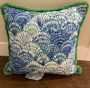"""Pottery Barn Outdoor Pillow Lilly Pulitzer Oh Shello Fringe Blue Green 20"""" NWOT"""