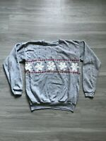 Vintage 70s Winter Snowflakes Long Sleeve Christmas Crewneck Sweatshirt Womens M